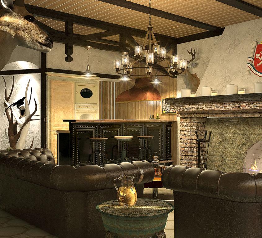 Дизайн интерьера в отеле Дом охотника.