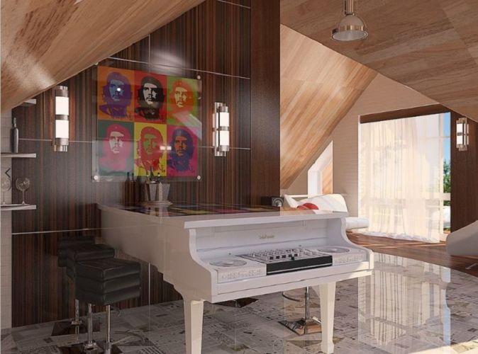 Дизайн интерьера мансарды дома