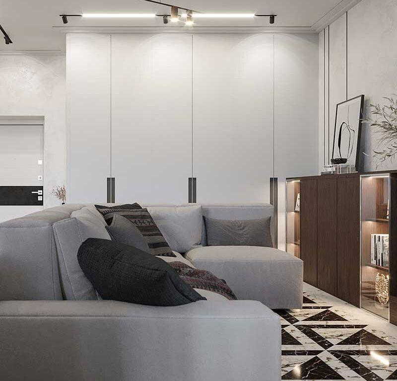 Интерьер в стиле хай-тек квартиры-студии в ЖК РИВЕР ПАРК