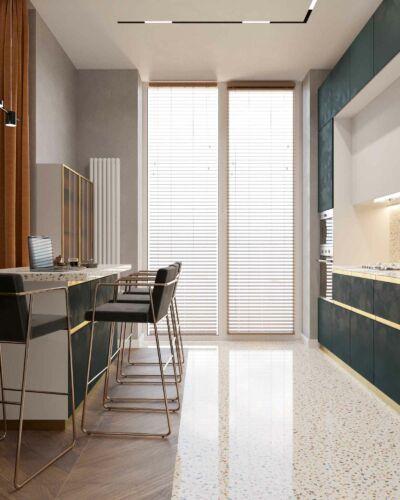 Вариант отделки пола в цвет рабочих поверхностей кухни